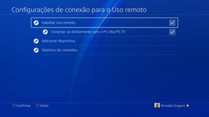 Configurações do PS4 / PS4 Remote Play android