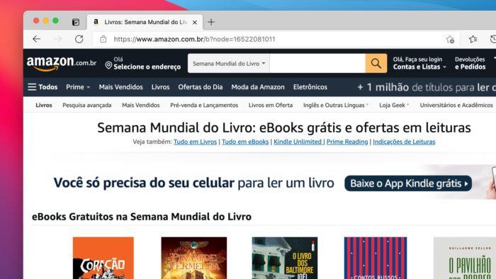 Amazon oferece 12 e-books grátis para Kindle no Brasil (Imagem: Reprodução)